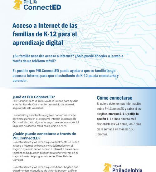 PHLconnectedschoolsheetSpanish